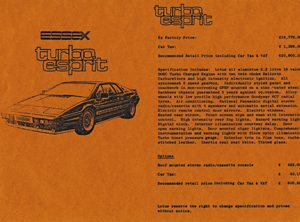 Essex Turbo Esprit Price List