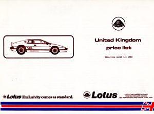 Lotus Price List (UK)