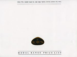 Lotus Model Range Price List