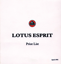 Lotus Esprit Price list