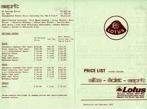 Lotus Range Price List