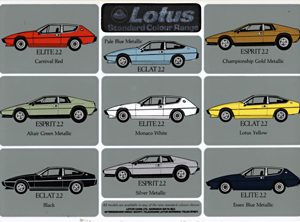 Lotus Range S2.2 Colour Chart